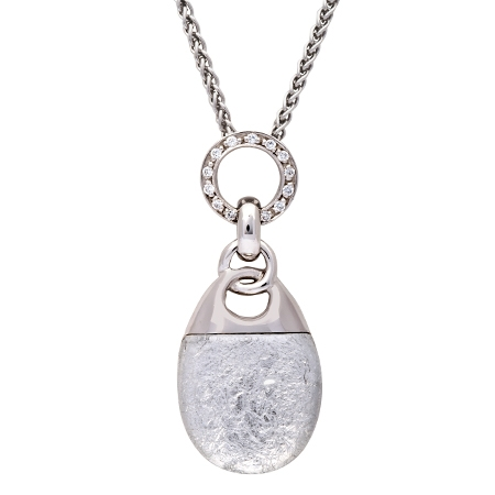 Picture of 08636: Elegant Sterling Silver Necklace with Shimmering White Leaf and White Cubic Zirconia Set Bail