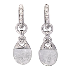 Picture of 08634: Moonlight White Leaf Sterling Silver Earrings with White Shimmering Cubic Zirconia Set Hoops
