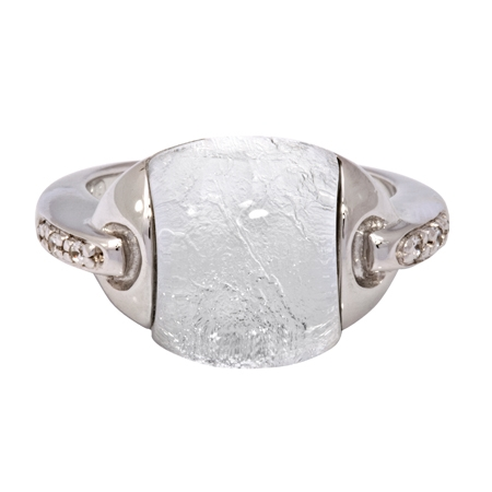 Picture of 08657: Stunning Sterling Silver Dress Ring with Silvery Leaf Texture and Cubic Zirconia Shoulder Detail