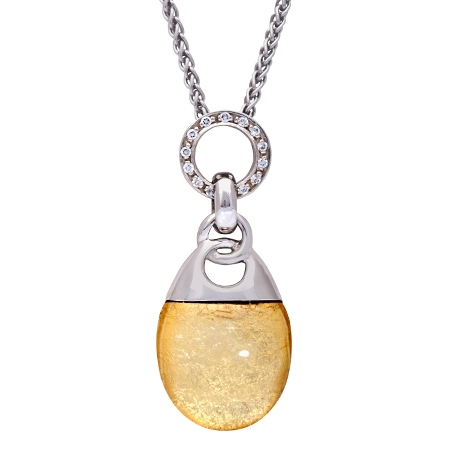Picture of 08635: Gorgeous Zesty Yellow Leaf in Glass Necklace with Sterling Silver Setting and Cubic Zirconia Detail