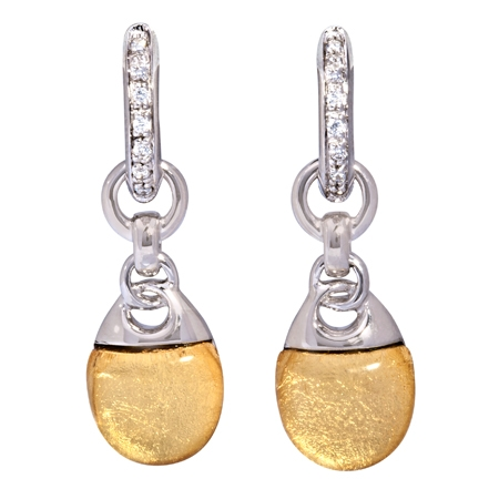 Picture of 08633: Beautiful Bright Yellow Leaf Interlocking Style Earrings with Cubic Zirconia and Sterling Silver Hoops