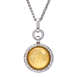 Picture of 08652: Domical Round Yellow Leaf Necklace with White Cubic Zirconia in Polished Sterling Silver