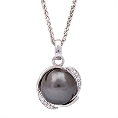 Picture of 08647: Smokey Grey Pearl Necklace with Sterling Silver Arch Setting and Sparkling Cubic Zirconia Detail