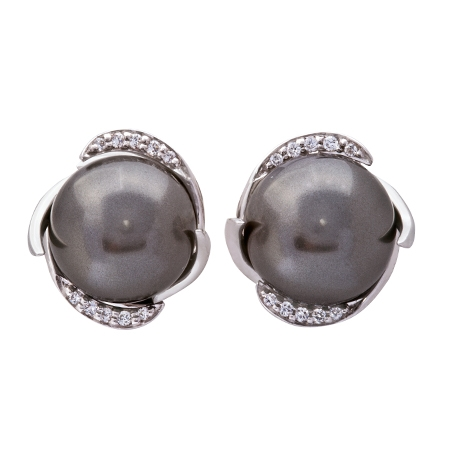 Picture of 08658: Smooth Round Smokey Grey Pearl Earrings with Cubic Zirconias and Arching Sterling Silver Settings