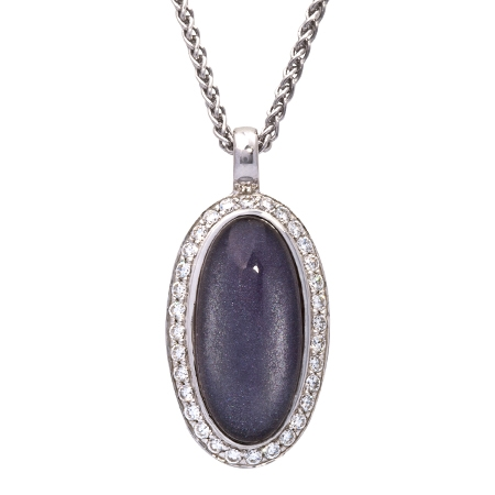 Picture of 08655: Stunning Oval Shaped Rich Purple Leaf Necklace with White Cubic Zirconia Frame in Sterling Silver