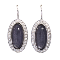 Picture of 08645: Magnificent Rich Purple Leaf Oval Hook Earrings with White Cubic Zirconia Frame in Sterling Silver