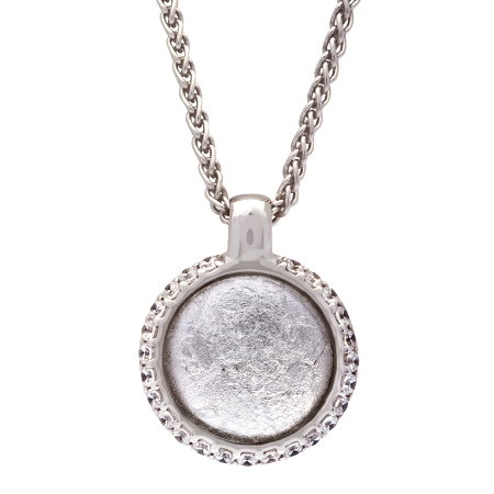 Picture of 08654: Stunning Round Silvery White Leaf Sterling Silver Necklace with White Cubic Zirconia Cog Wheel