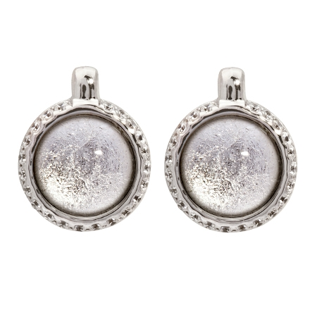 Picture of 08644: Elegant Silvery White Leaf Round Cog Style Stud Earrings with White  Cubic Zirconia in Sterling Silver