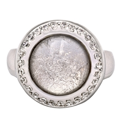 Picture of 08666: Stunning Silvery Leaf Round Cog Style Sterling Silver Ring with Sparkling White Cubic Zirconia Detail