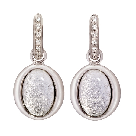Picture of 08641: Silvery White Leaf Hoop Style Oval Shaped Earrings with Cubic Zirconia Set Sterling Silver Hoops