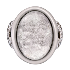 Picture of 08663: Magnificent Silver White Leaf Oval Shaped Ring with Cubic Zirconia Detailed Shoulders in Sterling Silver