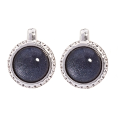 Picture of 08643: Deep Purple Leaf Round Stud Earrings with Sterling Silver and White Cubic Zirconia Set Cog Wheel