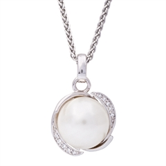 Picture of 08648: Lustrous Moon White Pearl Necklace with Sterling Silver Cradle Setting and Cubic Zirconia Detail
