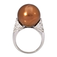Picture of 08661: Lustrous Copper Coloured Pearl Dress Ring with Sterling Silver Band and Cubic Zirconia Shoulders