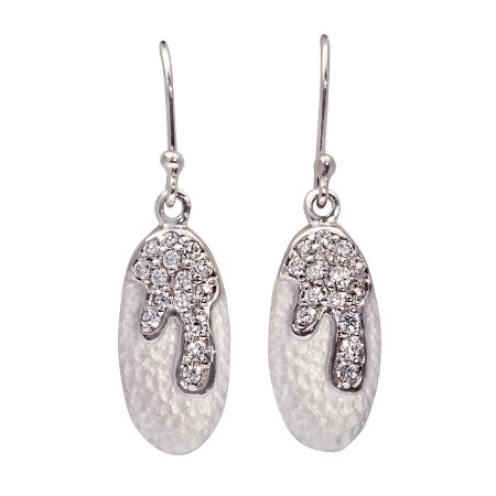 Picture of 08402: Striking Shimmering White Sterling Silver Hook Earrings with Twinkling Cubic Zirconia Stone Detail