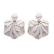 Picture of 08411: Elegant Sterling Silver Natural Oyster Shaped Earrings with Glittering White Cubic Zirconia Stones