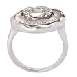 Picture of 08400: Magnificent Sterling Silver Rippling Pool Dress Ring with White Cubic Zirconias and Scored Texture