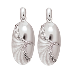 Picture of 08396: Elegant Matte and High Polish Sterling Silver Oval Earrings with Curved Paths of Cubic Zirconias