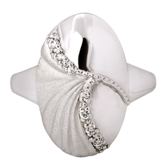 Picture of 08397: Oval Shaped Sterling Silver Ring with Glittering Matte and Polished Silver Finish and Cubic Zirconias