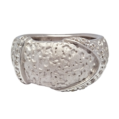 Picture of 08409: Striking Moon Rock Textured Matte Sterling Silver Ring with White Cubic Zirconia Band Detail