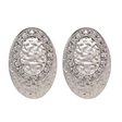 Picture of 08408: Moon Rock Textured Sterling Silver Oval Shaped Earrings with Oval Feature of White Cubic Zirconias