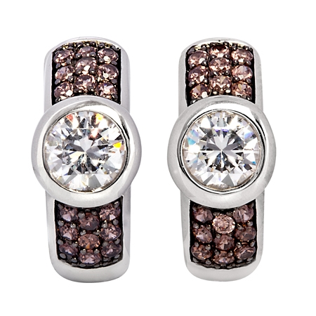 Picture of 08119: White and Mocha Coloured Cubic Zirconia Sterling Silver Cuff Style Earrings with Rub Over Setting