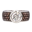 Picture of 08120: Sterling Silver Pavé Set Ring with Beautiful White and Rich Brown Cubic Zirconias in Rub Over Setting