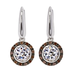 Picture of 08126: Sterling Silver White Cubic Zirconia Drop Earrings with Brown Cubic Zirconia  Halo and Lattice Setting