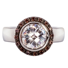 Picture of 08124: Sterling Silver Dress Ring with White and Hazel Coloured Cubic Zirconias Set in a Lattice Style Setting