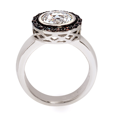 valdo zeni 08124 sterling silver dress ring with white