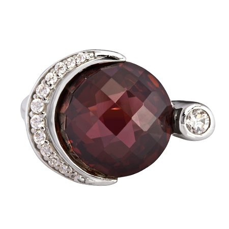 Picture of 08160: Stunning Maroon Cubic Zirconia Ring with Glittering White Cubic Zirconias in Sterling Silver Crescent
