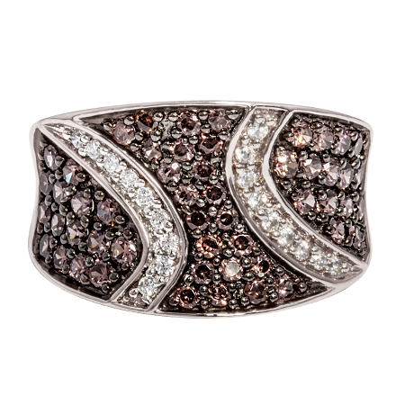Picture of 08144: Gorgeous Energetically Styled Dress Ring with Pavé Set Rich Mahogany and White Cubic Zirconia Stones
