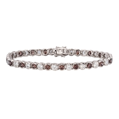 Picture of 08136: Beautiful Sterling Silver Bracelet with White and Chocolate Cubic Zirconias in Delicate Settings