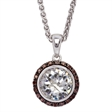 Picture of 08125: Stunning Halo Style Sterling Silver Necklace with Chocolate and White Coloured Cubic Zirconias