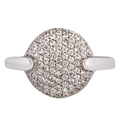 Picture of 07383: Sterling Silver Dress Ring with Sparkling White Micro Set Cubic Zirconias and Sleek Indented Shoulders