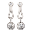 Picture of 08453: Elegant Sterling Silver Earrings with Multiple Rub Over Set Cubic Zirconias and Pear Shaped Loops