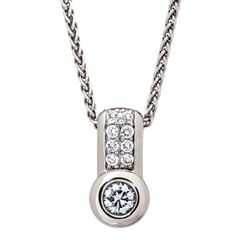 Picture of 08130: Twinkling White Rub Over Set Cubic Zirconia Necklace with White Stone Detail in Sterling Silver