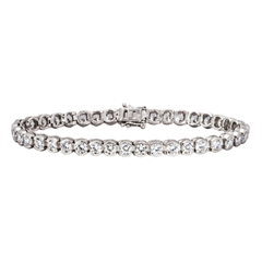 Picture of 08135: Beautiful Delicate Sterling Silver Bracelet with Sparkling White Cubic Zirconias in Rub Over Settings