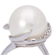 Picture of 08660: White Pearl Dress Ring with Slender Sterling Silver Band and Organic Setting