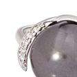 Picture of 08659: Striking Smokey Grey Pearl Dress Ring with Sterling Silver Band and Silver Arch Setting