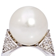Picture of 08662: Gorgeous Moon White Round Pearl Dress Ring with Sterling Silver Band and Delicate Shoulder Detail