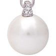 Picture of 08650: Elegant Moon White Large Pearl Necklace with Sterling Silver and White Cubic Zirconia Setting
