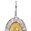 Picture of 08646: Shimmering Yellow Leaf Oval Shape Hook Style Earrings with Cubic Zirconia Frame in Sterling Silver