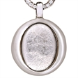 Picture of 08651: Elegant Silvery White Leaf Oval Shaped Necklace with Cubic Zirconia Set Halo in Sterling Silver