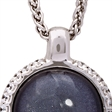 Picture of 08653: Stunning Round Deep Purple Leaf Sterling Silver Necklace with White Cubic Zirconia Cog Wheel