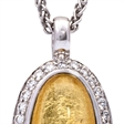 Picture of 08656: Beautiful Bright Yellow Leaf Oval Necklace with a White Cubic Zirconia Halo in Sterling Silver