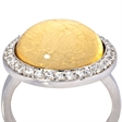 Picture of 08664: Beautiful Yellow Leaf Bubble Glass Sterling Silver Ring with White Cubic Zirconia Halo and Silver Band