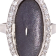 Picture of 08667: Pretty Purple Coloured Leaf Dress Ring with Sterling Silver Band and Cubic Zirconias