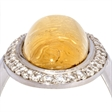 Picture of 08668: Beautiful Yellow Coloured Leaf Dress Ring with Sterling Silver Band and White Stones
