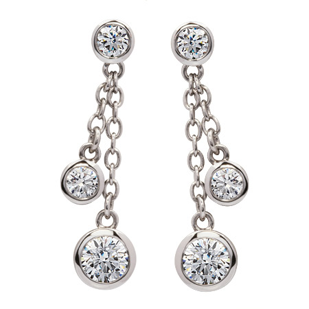 Picture Of 08572 Rub Over Set Multiple White Cubic Zirconia Sterling Silver Drop Earrings With